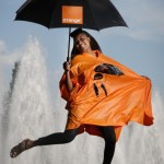 VV Brown in Orange Poncho